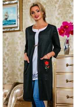 Черный кардиган с ручной вышивкой в виде аппликации цветка