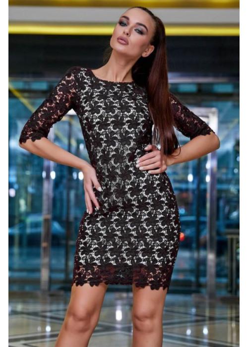 Нарядное платье чёрного цвета мини из итальянского гипюр-кружева