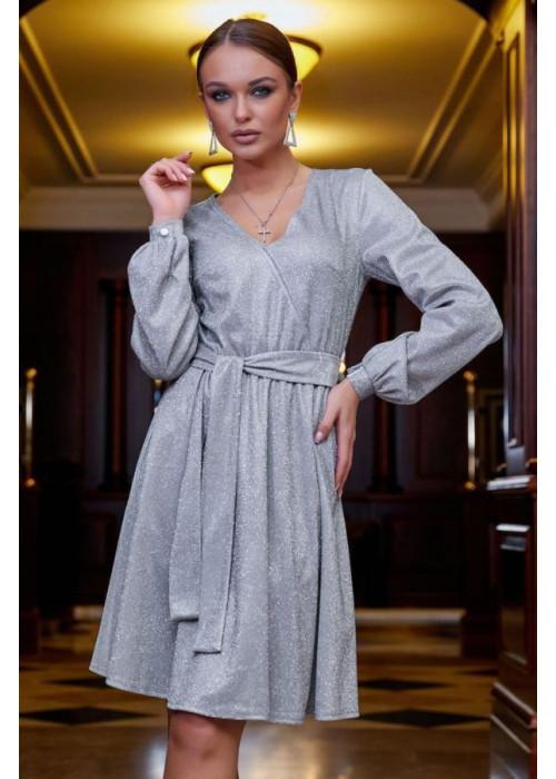 Роскошное платье с завышенной талией и пышной юбкой из трикотажа с люрексом