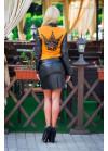Кофта-бомбер горчичного цвета с черными вставками в виде перфорации