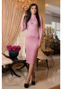 Нежно-розовое платье-гольф, декорированное молнией по низу подола