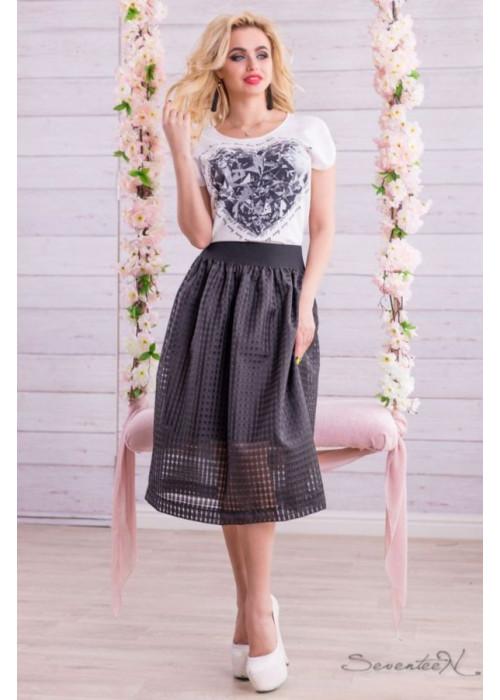 Воздушная юбка из оригинальной ткани-сеточки