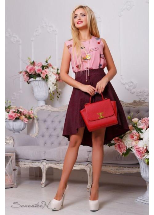 Ассиметричная юбка в потрясающем винном цвете