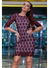 Нарядное платье винного цвета мини из итальянского гипюр-кружева