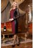 """Роскошное вечернее платье, из французского трикотажа """"Алекси"""" и эко-кожи, украшено кружевным гипюром"""