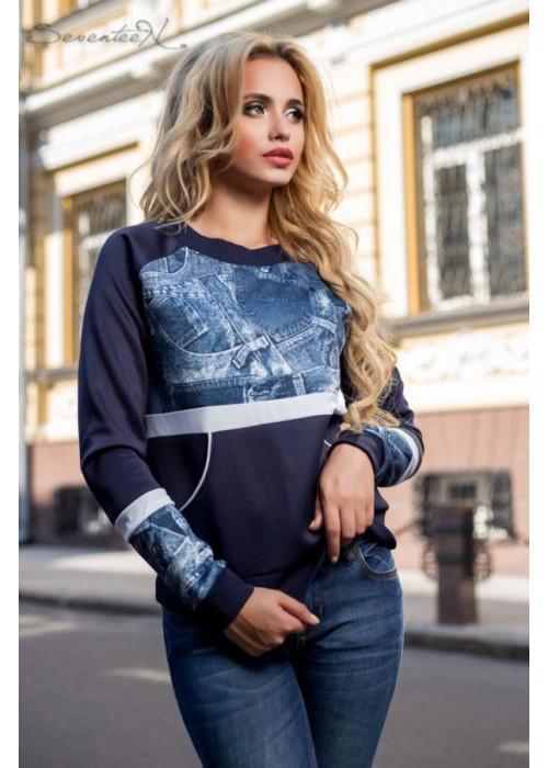 Свитшот свободного кроя с широкими карманами цвета джинса
