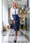 Невероятно стильная кожаная юбка синего цвета