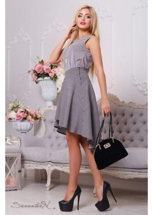 Ассиметричная юбка в  сером цвете