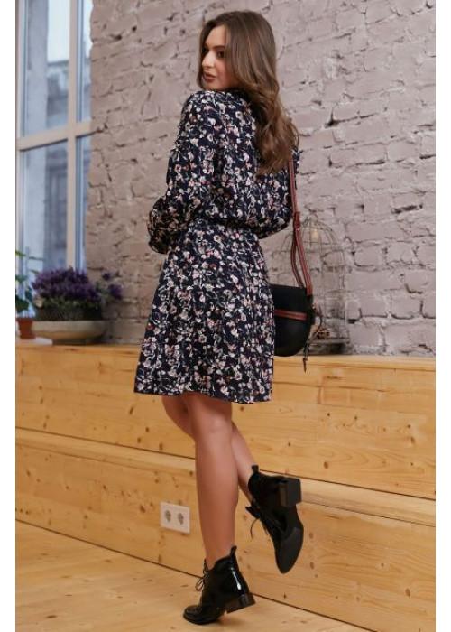 Романтичное и нежное платье мини свободного кроя  темно-синего цвета