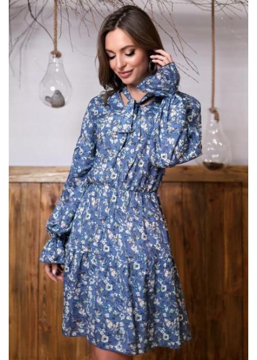 Романтичное и нежное платье мини свободного кроя  королевского синего цвета