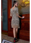 Золотистое нарядное платье  мини с антрацитовым леопардовым принтом