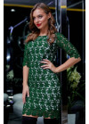 Нарядное платье зелёного цвета мини из итальянского гипюр-кружева