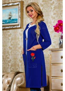 Синий кардиган с ручной вышивкой в виде аппликации цветка