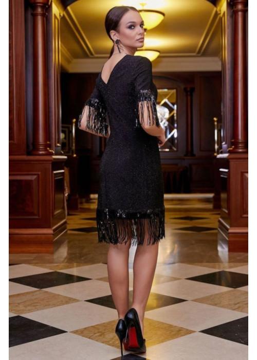 Чёрное нарядное платье  мини с пайетками
