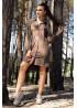 Стильное платье-рубашка из эко-замши