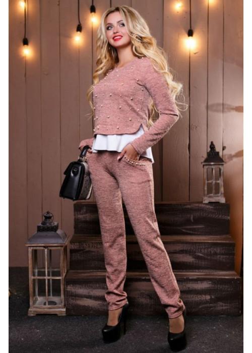 UNI повседневный костюм цвета персиковый меланж