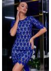 Нарядное платье синего цвета мини из итальянского гипюр-кружева