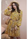 Романтичное и нежное платье мини свободного кроя  горчичного цвета