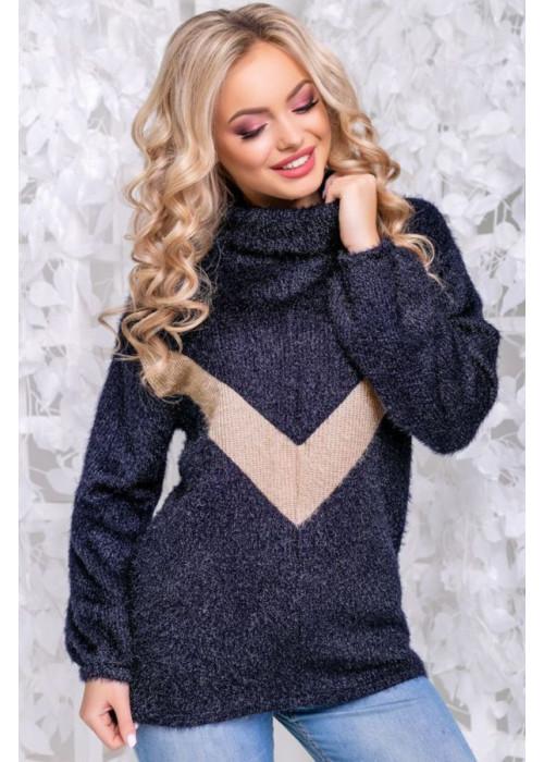 Оригинальный свитер синего цвета из мягкой ангоры-травки