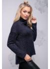 Красивый молодежный свитер синего цвета с асимметричным кроем