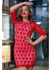 Нарядное платье красного цвета мини из итальянского гипюр-кружева