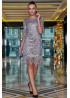 Серебристое нарядное платье  мини с антрацитовым леопардовым принтом