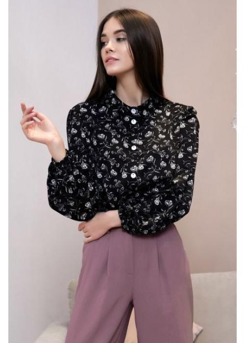Черная блуза свободного кроя в цветочный принт