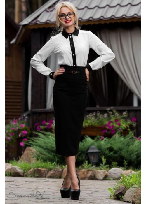 Стильная юбка-карандаш миди черного цвета с высокой талией
