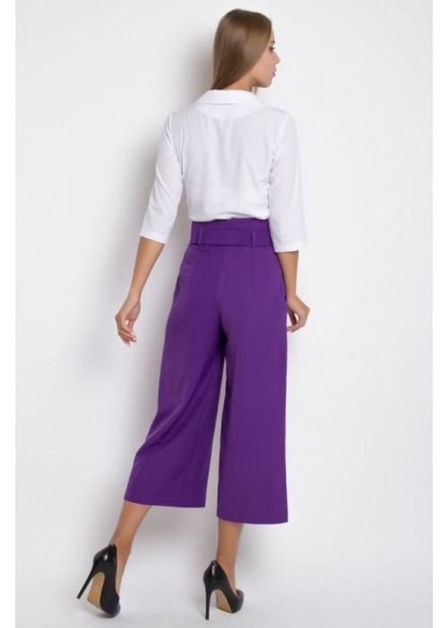 Стильные фиолетовые брюки-кюлоты с высокой посадкой по талии