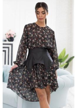 Комплект из двух платьев: свободное платье-оверсайз с асиметричной рюшей по низу + платье-майка, черный