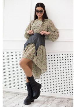 Комплект из двух платьев: свободное платье-оверсайз с асиметричной рюшей по низу + платье-майка, оливка