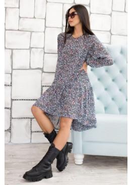 Комплект из двух платьев: свободное платье-оверсайз с асиметричной рюшей по низу + платье-майка, синий