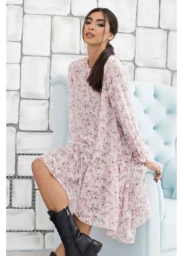 Комплект из двух платьев: свободное платье-оверсайз с асиметричной рюшей по низу + платье-майка, персик