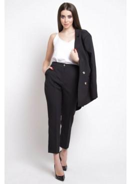 Укороченные брюки с высокой посадкой по талии, Черный