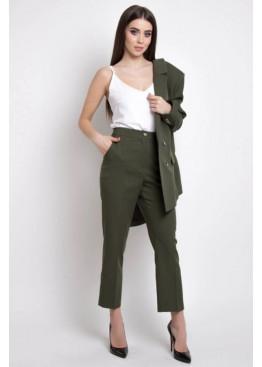 Укороченные брюки с высокой посадкой по талии, Хаки