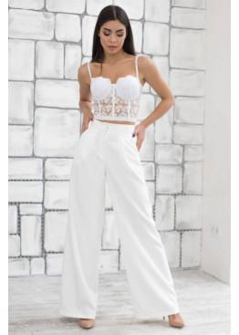 Шикарные трендовые белые брюки-палаццо PALERMO из костюмной ткани