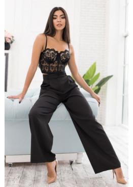Шикарные трендовые черные брюки-палаццо PALERMO из костюмной ткани