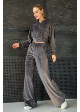 Костюм-двойка ALITA в стиле смарткэжуал из теплой велюровой ткани на меху, Темно-серый