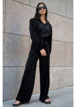Костюм-двойка ALITA в стиле смарткэжуал из теплой велюровой ткани на меху, Черный
