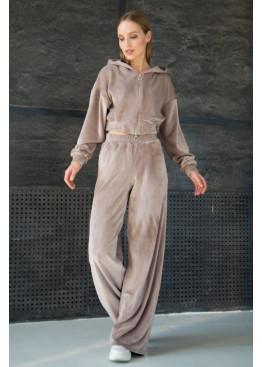 Костюм-двойка ALITA в стиле смарткэжуал из теплой велюровой ткани на меху, Бежевый