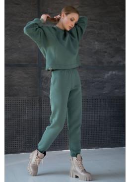 Стильный костюм из свитшота с рукавами летучая мышь и брюк-джоггеров STATUS №2, оливка