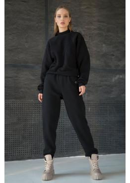 Стильный костюм из свитшота с рукавами летучая мышь и брюк-джоггеров STATUS №2, Черный