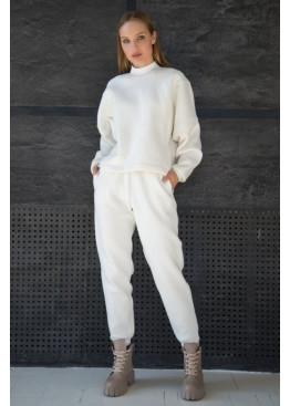 Стильный костюм из свитшота с рукавами летучая мышь и брюк-джоггеров STATUS №2, Молочный