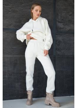 Теплый костюм из худи и прямых широких брюк STATUS №4, Молочный