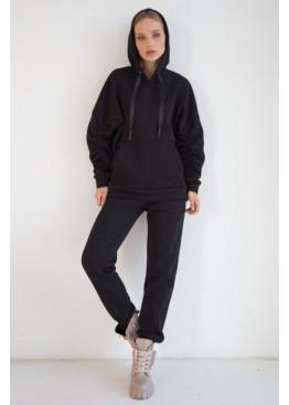 Теплый костюм из худи и прямых широких брюк STATUS №4, Черный