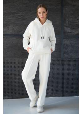 Теплый костюм из худи и прямых широких брюк STATUS №5, Молочный