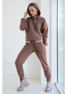 Теплый костюм в спортивном стиле STATUS №6, Коричневый