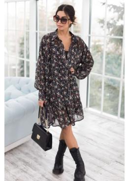Комплект из двух платьев: платье-рубашка в цветок + платье-майка, черный