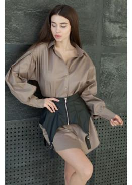 Модное платье-рубашка из натурального хлопка, беж