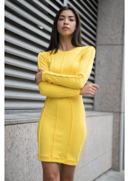 Силуэтное платье с длинными рукавами из трикотажа рубчик, Желтый